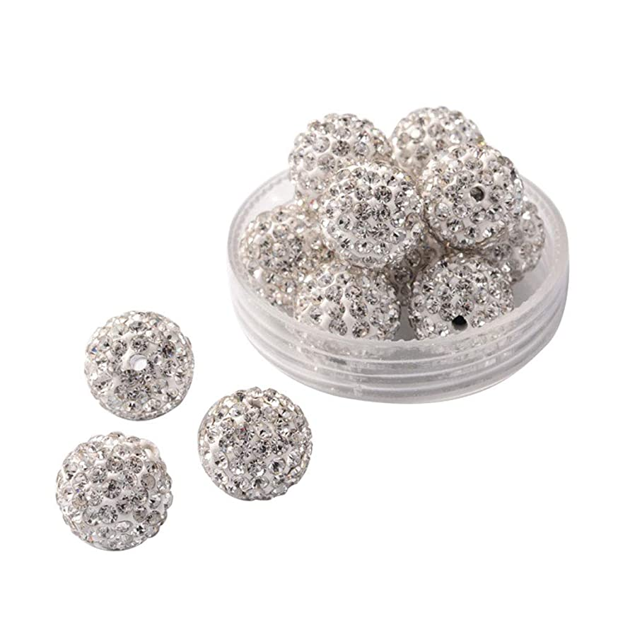 PH PandaHall 100pcs 12mm Crystal Rhinestone Shamballa Beads Pave Disco Ball Clay Beads Clay Rhinestone Beads for Jewelry Making