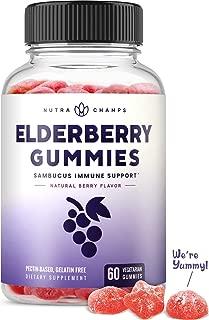 Elderberry Gummies for Kids & Adults [Double-Strength] Immune Support & Relief from Cold & Allergies - Sambucus Nigra Extract Antioxidant Supplement - 60 Vegetarian Gummy Vitamins