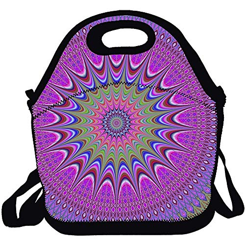 Insulated Lunch Bag/Backpack/Tote With Zipper, Abstract Mandala Carry Handle And Shoulder Strap For Adults Or Kids