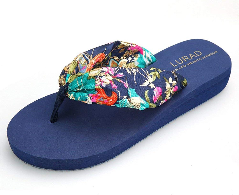 Ghapwe Women's Bohemian Floral Antiskid Beach Thong Sandals Wedge Flip Flops Beige 4 M US