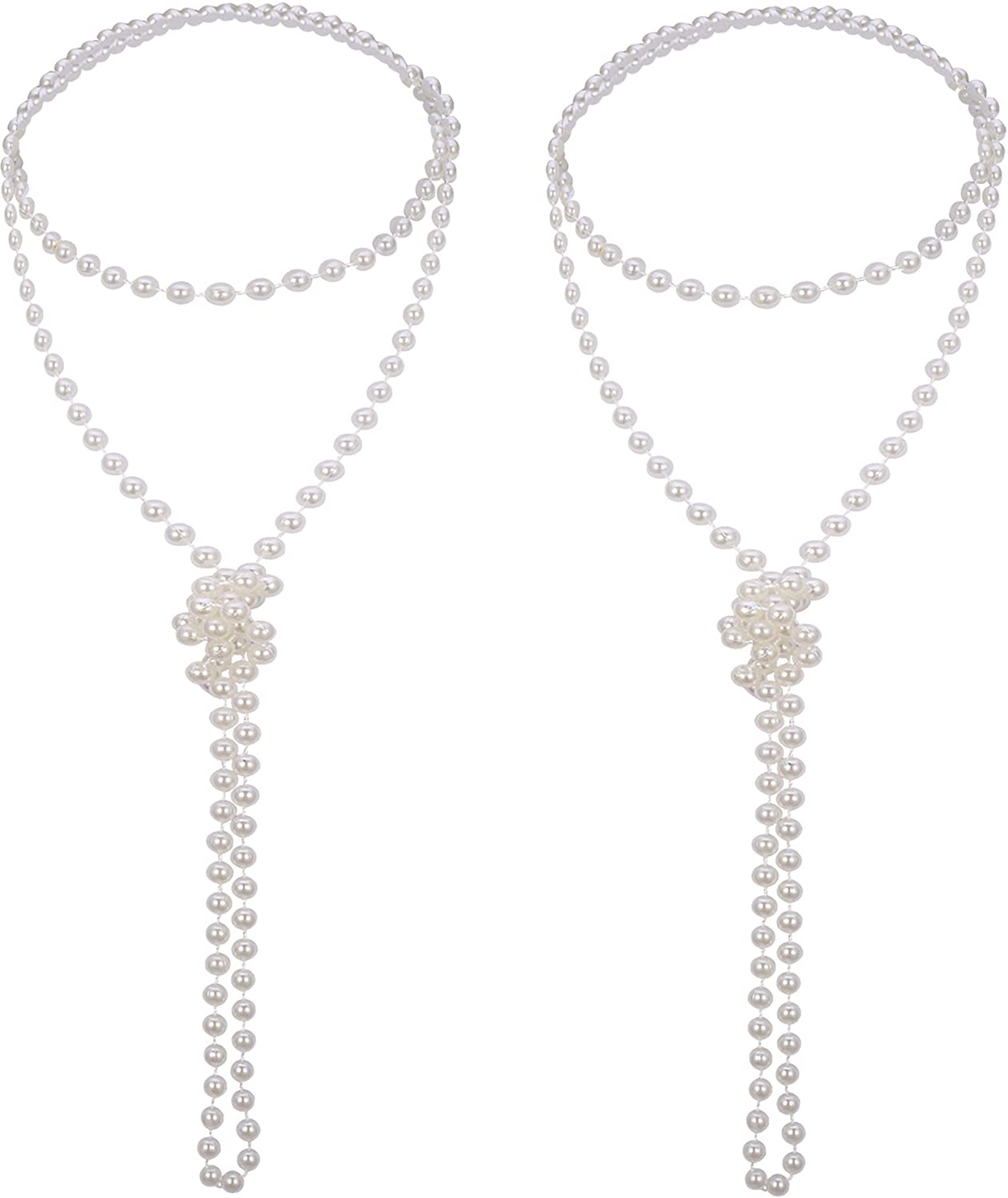 Mudder 2 Pack 1920s Artificial Long Pearl Necklace Flapper Beads Faux Pearl Vintage Jewelry for Women Girls, 71 Inch