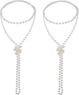 2 Pack 1920s Artificial Pearl Necklace Flapper Beads Faux Pearl, 71 Inch