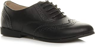 Ajvani Womens Ladies Flat Low Heel lace up Smart Vintage Oxford Shoes Brogues Size