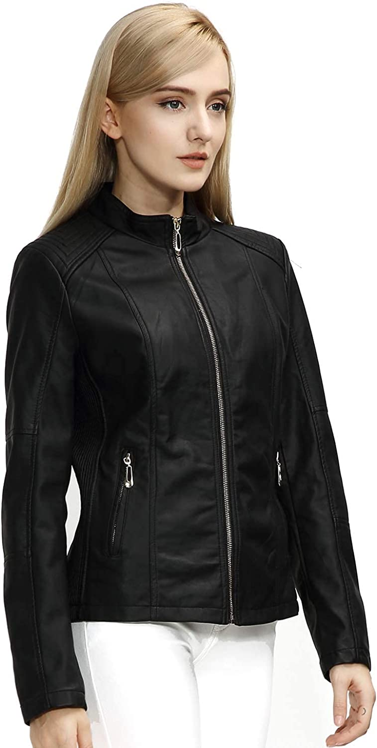 Large discharge sale Giolshon Faux Leather Short Jacket Casual Motorcycle Sales for sale Women Coat