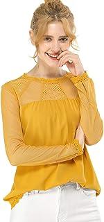 Allegra K 女式蕾丝镶板半透明雪纺上衣