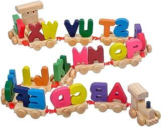 1 Set Letter Train Wooden Alphabet Train ABC Train Floor Puzzles Wood Letter Train Set Educational Toy for Preschool Kids