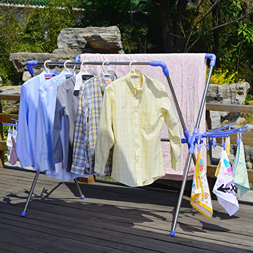 Hans&Alice Collapsible Laundry Drying Rack with Hooks,Clips and Shoe Dryer for Indoor/Outdoor (Laundry Drying Rack)