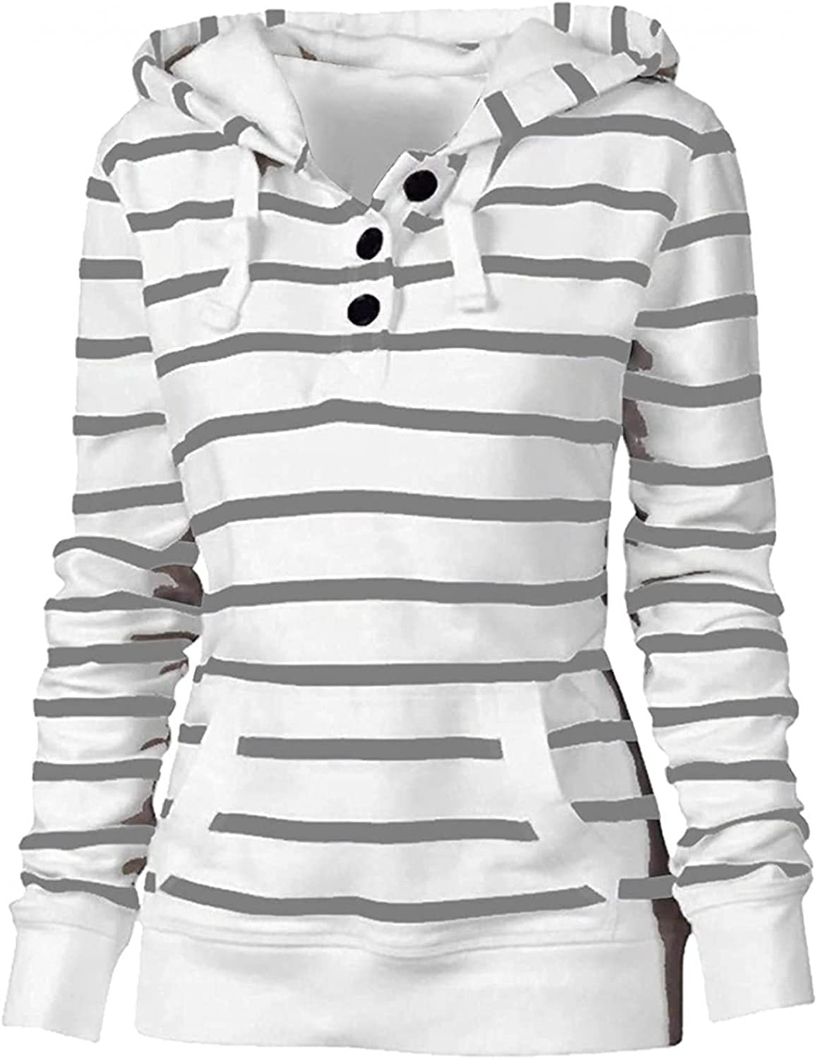 COMVALUE Womens Hoodies,Drawstring Pullover Striped Long Sleeve Button Down V Neck Casual Sweatshirts with Pocket