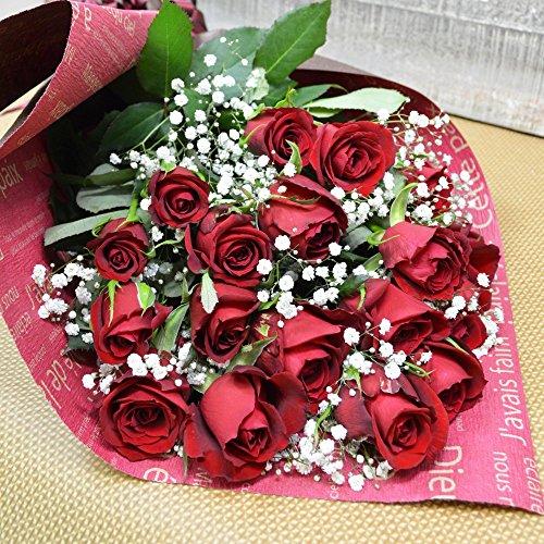 深紅バラとかすみ草の花束 20本 フラワーギフト 誕生日 結婚記念日 還暦祝い