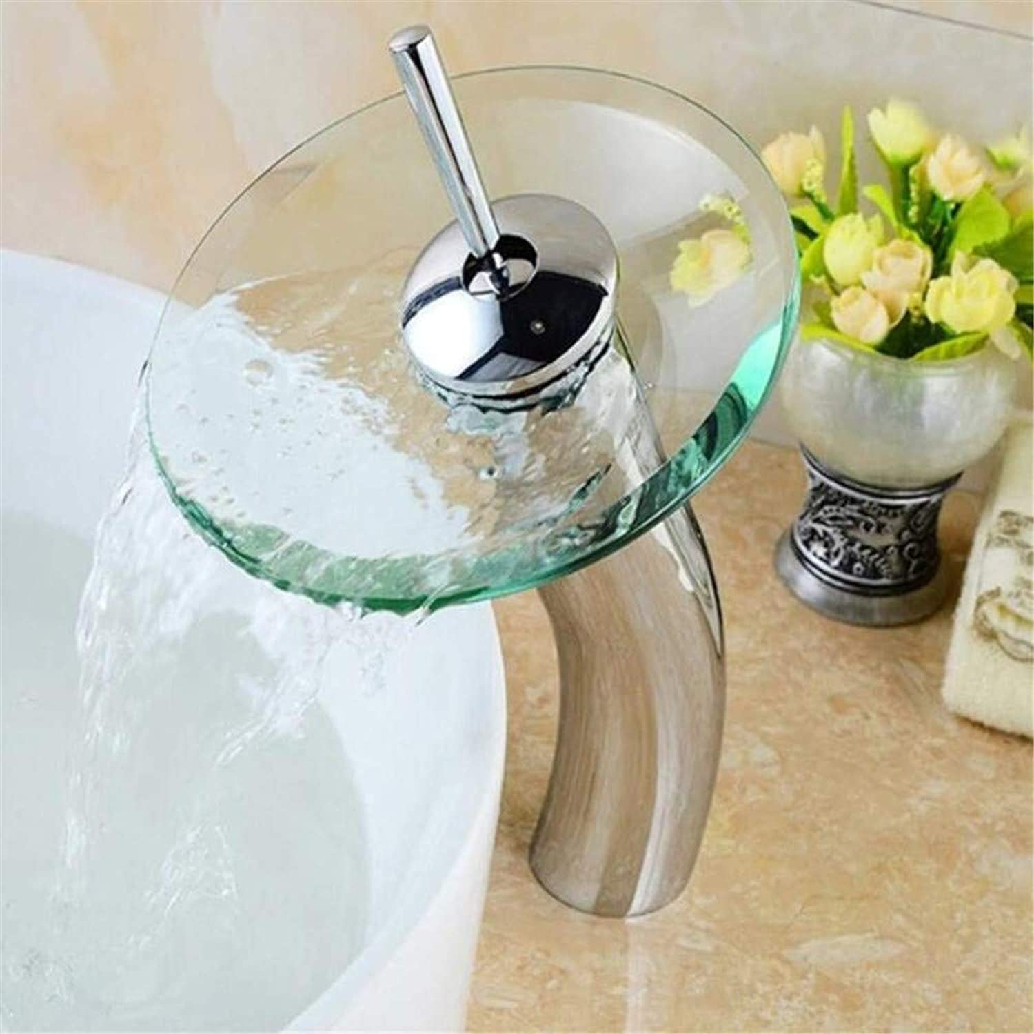 Brass Chrome Hot and Cold Water Rbathroom Waterfall Faucet Transparent Vessel Water Faucet Bathroom Basin Sink Mixer Tap