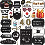 40th Birthday Photo Booth Props with Strike a Pose Sign by Sunrise Party Supplies