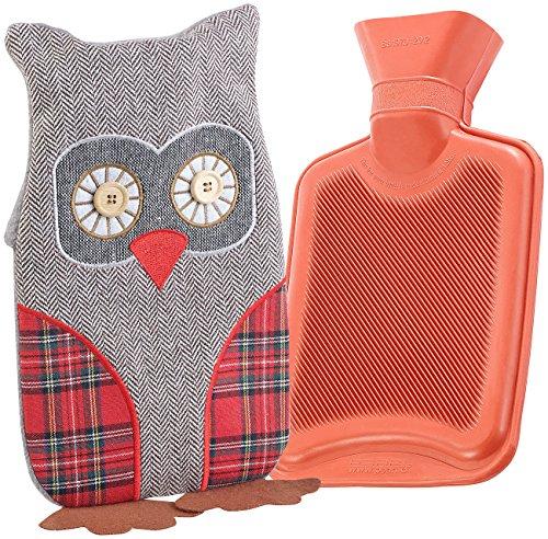 infactory Plüschtier-Wärmflasche: Kinder-Wärmflasche mit Eulen-Bezug, 1 Liter (Wärmflasche für Baby, Kind)