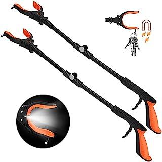 2-Pack Foldable Grabber Reacher Tool with Light, 32 Inch Trash Picker Grabber, Reacher Claw Grabber for Elderly, 90°Rotating Anti-Slip Jaw, Durable Stick, Magnet Hook