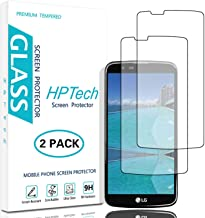 HPTech LG K10 Screen Protector - (2-Pack) Tempered Glass Screen Protector for LG K10 Bubble Free 9H Hardness with Lifetime Replacement Warranty