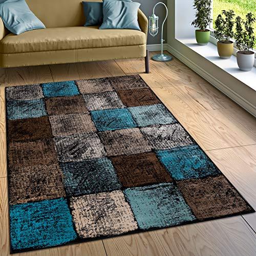 Paco Home Designer Teppich Wohnzimmer Ausgefallene Farbkombination Karo Türkis Braun Creme, Grösse:140x200 cm