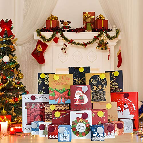 ALLADINBOX 24 PCS Christmas Assorted Gift Bags, 24 Count Xmas Wrapping Bags with Tags, 4 Different Sizes, 4 Jumbo, 6 Large, 6 Medium, 8 Small, 24 Designs for Gift Wrapping