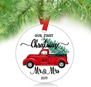 ZUNON Our First Christmas Ornaments as Mr & Mrs 2019 Red Truck Christmas Tree Panel Light Xmas Home Decoration Red Truck Farm Green Red Berries Wreath Ornament (Mr&Mrs 2)