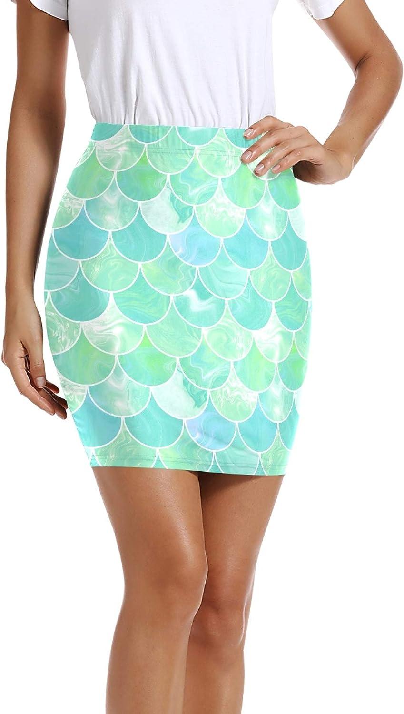 Special sale item Women's Summer New York Mall Pencil Skirt Teal Waist Turquoise Mi Mermaid High