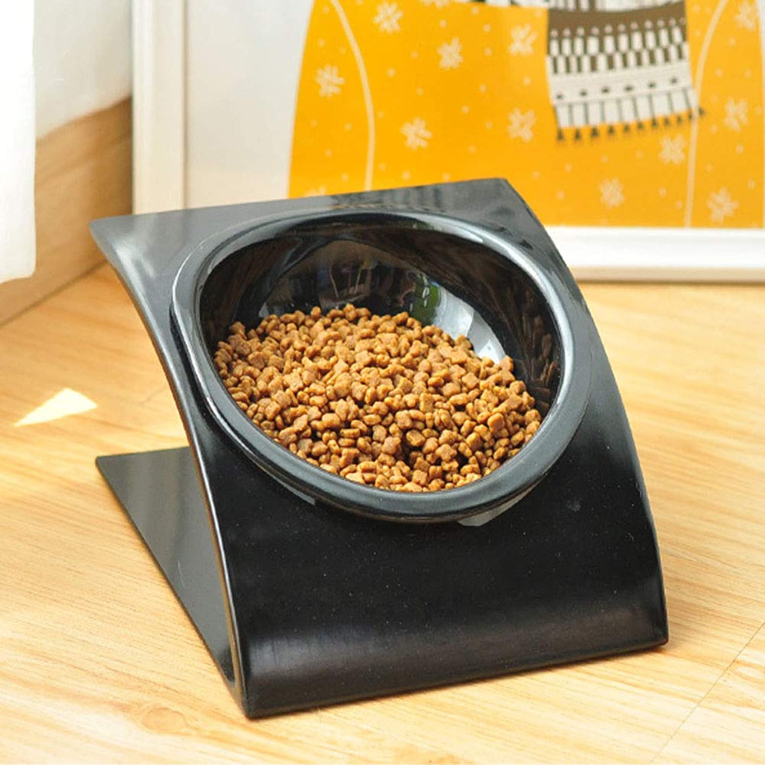 Pet Bowl,Cat and Dog Melamine Feeding Bowl, Suitable for Cat Puppies to Feed Water, Tilt Single Bowl Fashion (color   Black)
