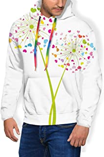 GULTMEE Men's Hoodies Sweatershirt, Spring Dandelion Flower with Heart Shaped Colorful Petals Romance Valentines Design,5 Size