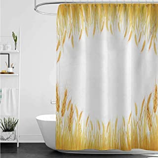 Polyester Fabric Shower Curtain,Harvest Crop Rice Field Frame Cereal Bread Seasonal Farmland Flour Food Theme,Shower Curtain with Hooks,W48x72L,Marigold Yellow White