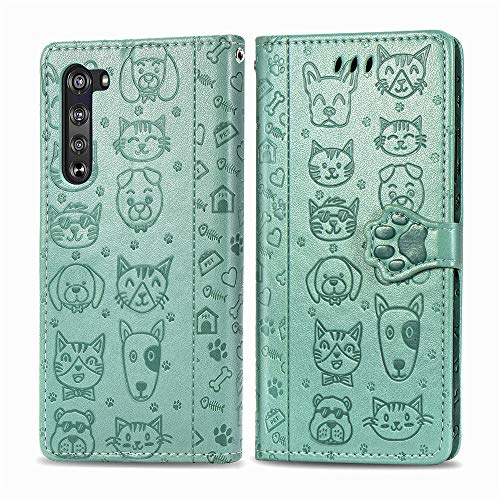 COTDINFOR Compatible with Motorola Moto Edge 5G Case Wallet with Card Slots Cute Flip Case for Girls Women Cat Dog Embossing Shockproof Case for Moto Edge 5G Green SDM