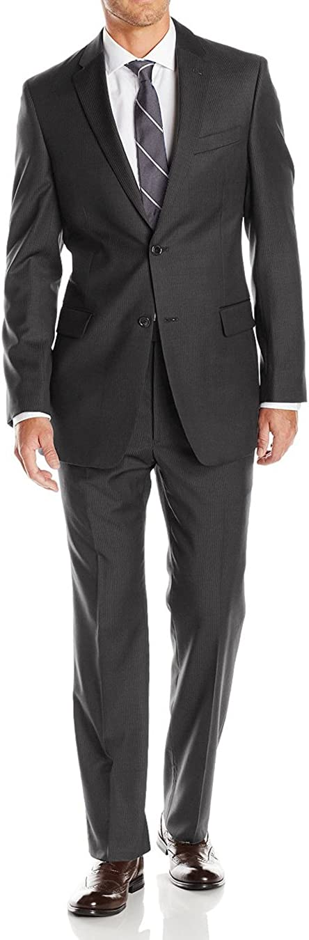 Luciano Natazzi Men's Two Button Pinstripe Modern Fit Suit 2 Piece Jacket Pant