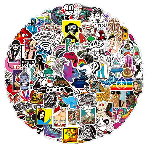 Dheckbluesky 100 pegatinas de graffiti, resistentes al agua, para monopatín, portátil, coche, casco, moto, bicicleta, M?Bel G?stebuch Snowboard Maleta