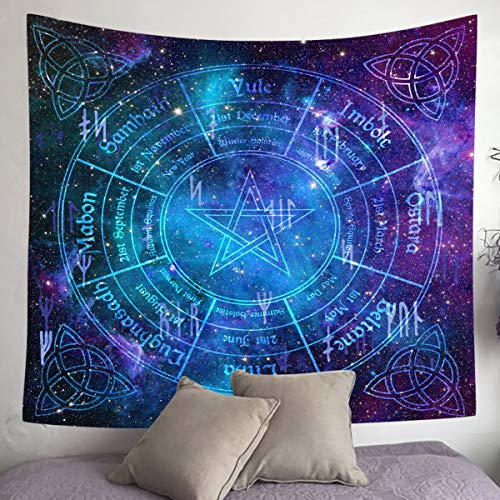 UHOMETAP Celtic Trinity Knot Tapestry Pagan Calendar Natural Cycle Tapestry Mandala Hippie Tapestry Starry Sky Wall Hanging for Home Dorm Decor Bedspread Table Cloth 60x60 Inches GTWYUH369