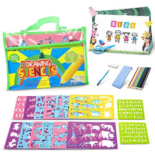 Lenbest Zeichenschablonen Kinder Set, Schablonen DIY Gemälde Kit, Reiseaktivität und Lernspielzeug zur Förderung der Kreativität von Kindern, Jungen Mädchen 4+