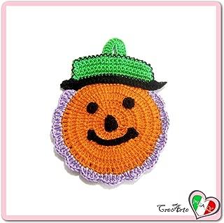 Orange Purple and Green crochet pumpkin potholder for Halloween - Size: 4.1 inch x 5.9 inch H - Handmade - ITALY