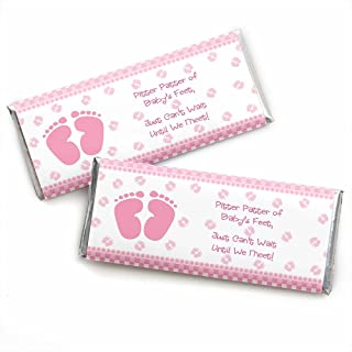 Baby Feet Pink - Candy Bar Wrappers Girl Baby Shower Favors - Set of 24