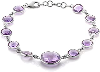 Gem Stone King Sterling Silver Amethyst Tennis Bracelet (30.00 cttw, Round Checkerboard Cut Gemstone Birthstone 8MM to 14MM)