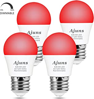 LED Red Light Bulb Dimmable 40W Equivalent A15 Red Light Bedroom Night Light Party Decoration Porch Holiday Lighting E26 Base 5W 4Pack