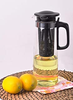 Atlasia Detox Glass Water Pitcher with Removable Fruit Infusion Part for Flavored Water, Juice, Lemonade Black