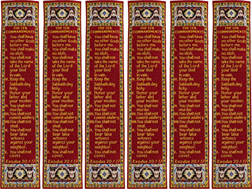 The Ten Commandments, Bulk Pack of 6 Woven Fabric Christian Bookmarks, Silky Soft Exodus 20:1-17 Flexible Bookmarker for Novels Books and Bibles, Traditional Turkish Woven Design, Memory Verse Gift