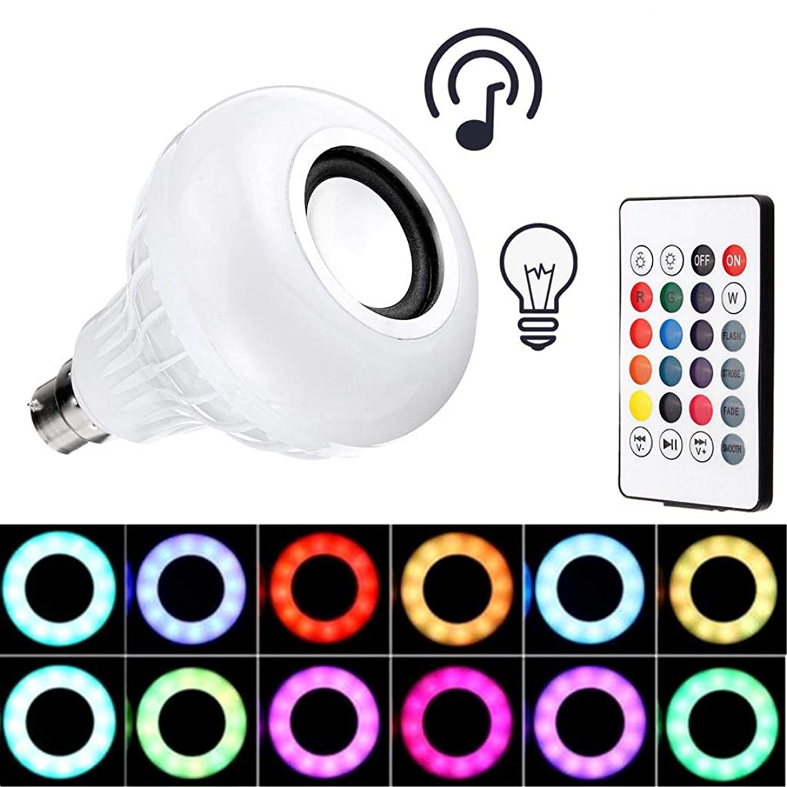 YOOJOP Wireless Bluetooth Speaker Bulb B22 LED RGB Light 12W Smart Music Player Lamp Remote 16Color Produced by YOOJOP