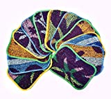 Scrub Non-Scratching Cleaning Pads Environmentally-Friendly Heavy-Duty Reusable Scrubs for Household Dishwasher Safe Sponges Bathroom & Kitchen Cleaner Pack of 12 Textured Assorted Colors (5 x 7 inch)