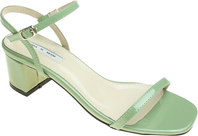 AnnaKastle Womens Block Heel Sandals Ankle Strap Dress shoes
