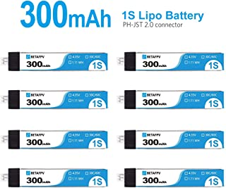 BETAFPV 8pcs Upgraded 300mAh 1S Lipo Battery 30C 4.35V with JST-PH 2.0 Powerwhoop Connector for Tiny Whoop Blade Inductrix