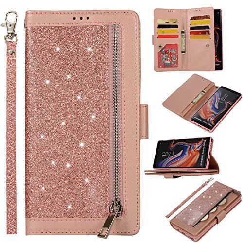 Snow Color Galaxy Note 9 Hülle, Premium Leder Tasche Flip Wallet Case [Standfunktion] [Kartenfächern] PU-Leder Schutzhülle Brieftasche Handyhülle für Samsung Galaxy Note9 - COZY010177 Rosa Gold