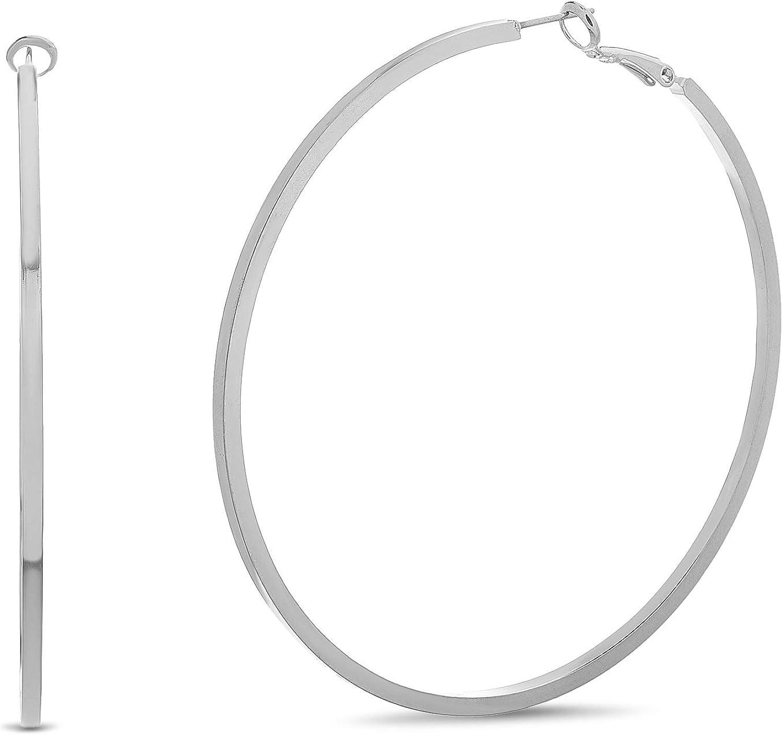 Steve Madden Squared Hoop Earrings for Women (Medium White)