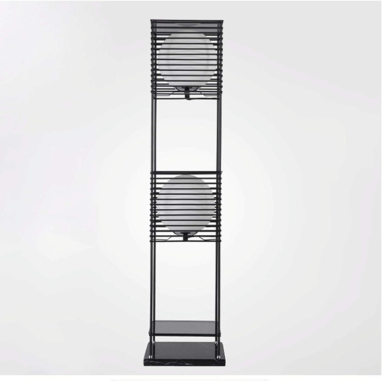 Lámpara Lámpara de pie de Estante LED - luz de pie Moderna para Salones y dormitorios - Marco de Madera asiático con estantes de Caja Abierta Luz de pie