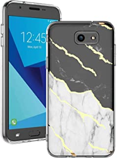 JDBRUIAN Galaxy J7 2017 Case,J7 Prime,J7 2017,J7 Sky Pro,J7 Perx case,Shiny White Marble Shock Absorption Soft Clear TPU Bumper and Rigid Hard Plastic Back Cover for Samsung Galaxy J7 V 2017