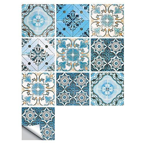 Fawyhr 10 unids/set Ornamento floral Arabesque Azulejos autoadhesivos de Arabesque Etiqueta engomada de la pared, sucio Estilo viejo Cocina Azul Cerámica Cerámica Muro Vinilo Tile Suelo Arte Mural H