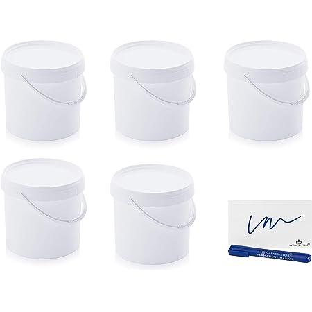 MARKESYSTEM - Seau Hermétique Pack de 5 x 5,6 litres - Conteneurs empilables en plastique avec couvercle - Récipient alimentaire, Catering Industriel, Liquides et Peintures + Kit étiqueté
