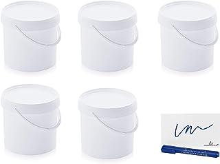 MARKESYSTEM - Seau Hermétique Pack de 5 x 5,6 litres - Conteneurs empilables en plastique avec couvercle - Récipient alime...