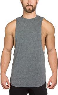 EU(イーユートレーニングタンクトップ 袖なし ジム用 シャツ スポーツ T-シャツ グレー XL