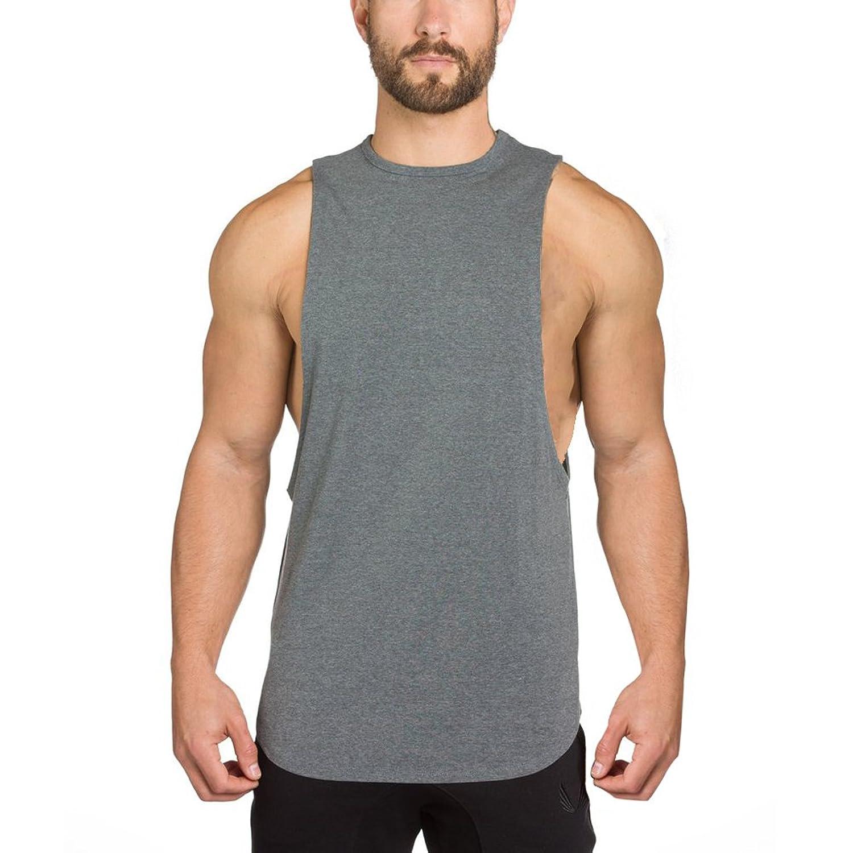 EU(イーユートレーニングタンクトップ 袖なし ジム用 シャツ スポーツ T-シャツ グレー 2XL