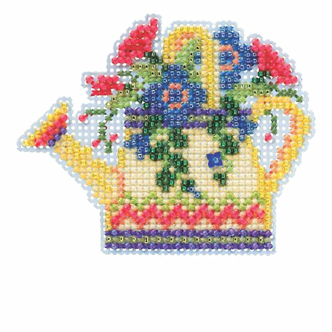 Floral Watering Can Beaded Counted Cross Stitch Kit Mill Hill 2015 Spring Bouquet MH185106